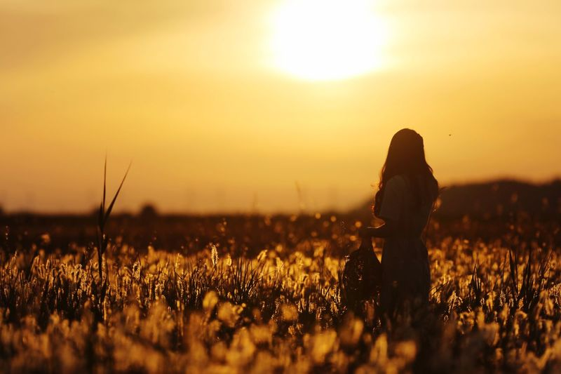 Sunset Sky Field Land Beauty In Nature Nature Lifestyles Women Real People Sun Love Is Love
