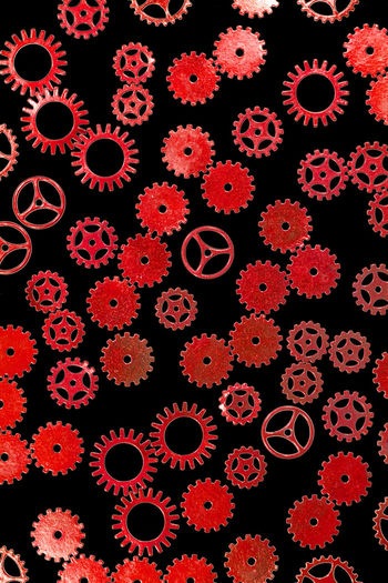 gears Abundance Backgrounds Black Background Button Choice Close-up Design Education Floral Pattern Full Frame Gear Healthcare And Medicine High Angle View Indoors  Large Group Of Objects No People Pattern Plant Red Science Shape Steampunk Variation