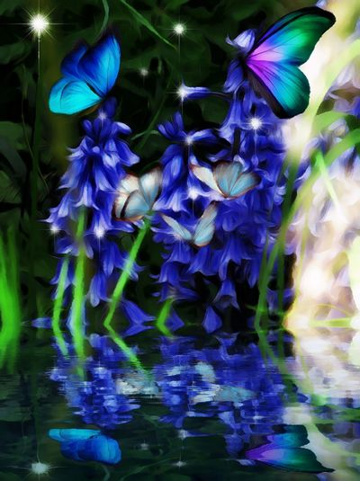 Flower Purple Beauty In Nature Fragility Flower Head Blue Freshness Blue Bell Fantasy Edit Junki Artistic Expression Water Reflections Cut And Paste
