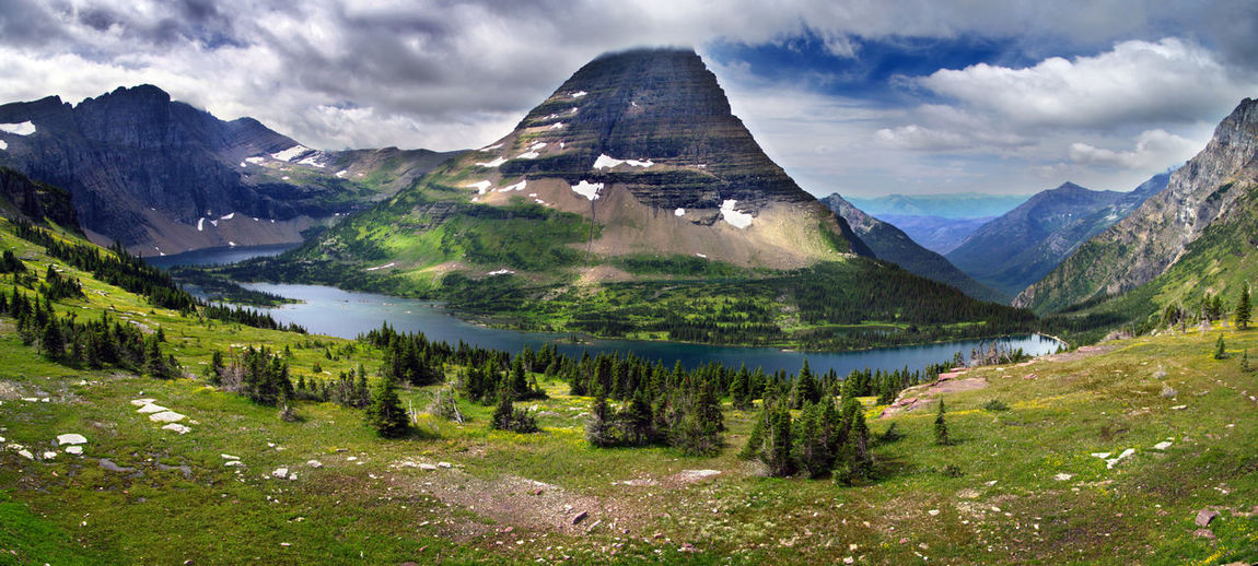 Glacier National Park Montana Bear Hat Mountain USA Nature View Landscape Panorama Travel Wild Tranquil Reflections Green Mountain Hiking Great Outdoors Lost In The Landscape Summer Exploratorium