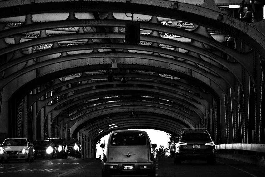 Transportation Arch Car Mode Of Transport Built Structure Tunnel The Way Forward Architecture City Hey  Streetphotography City Life Traffic Jam Eyeemphotography EyeEm Gallery EyeEm Best Edits EyeEm Best Shots Sactown Sacramento Sacramento, California Traffic Blackandwhite Monochrome Nocolor Hometown Connected By Travel