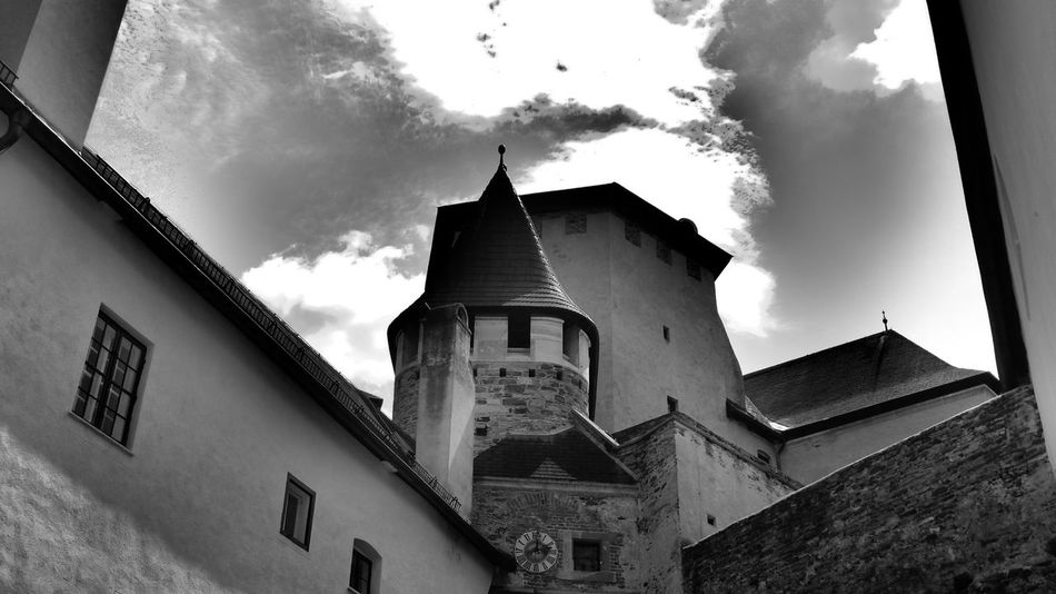 Architecture Blackandwhite Built Structure Castle Cloud - Sky Low Angle View No People Old Town Outdoors