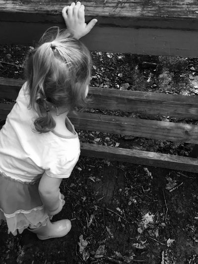 High angle view of girl looking through wooden railing