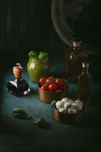 Close-up of fruits served on table