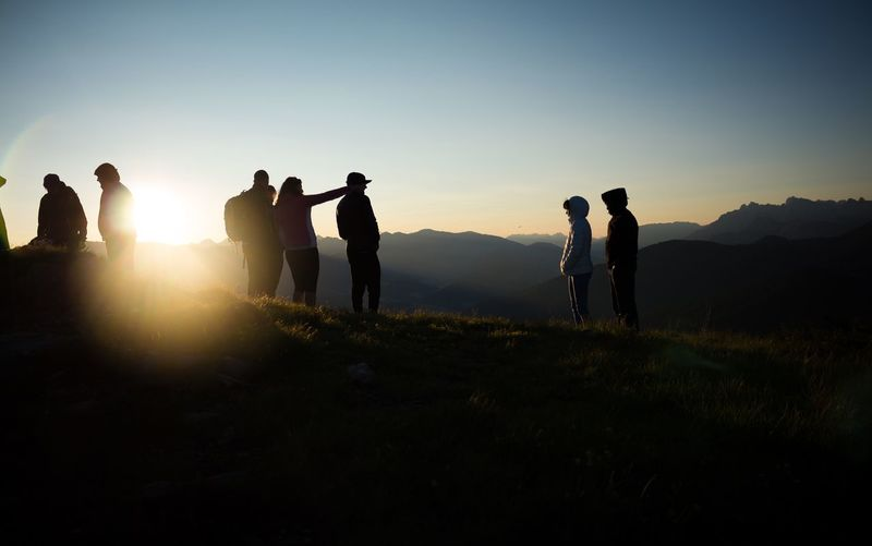 Group Of People Sky Real People Leisure Activity Nature Sunset Men Silhouette Sunlight People Mountain Summer Road Tripping