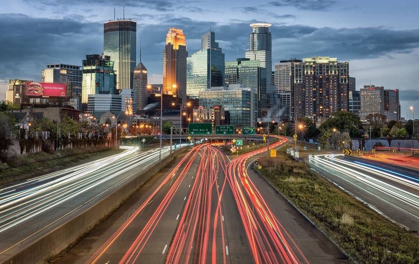 Minneapolis Minnesota Minneapolis Minnesota Long Exposure Motion Speed Traffic Architecture Cityscape car lights
