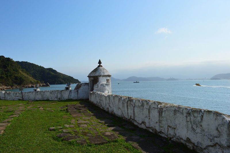 fort Guarujá Boat Daylight Fishing Boat Fort Mountain Ruins Architecture Seascape