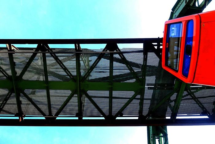 Contrast TakeoverContrast Transport Wuppertal Schwebebahn Floatig In The Air Blue Sky No People Urbanphotography Transportation Suspension Railway Technics Railway Modern Architectural Feature Architecture_collection Moving Forward  Famous Tourist Destinations Famous Place. Germany