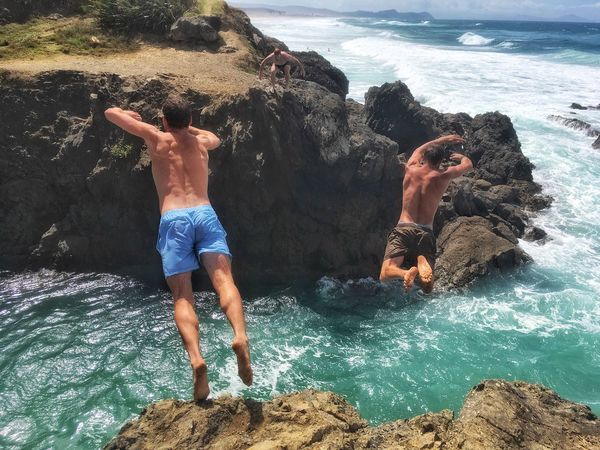 Never underestimate the power you have to take your life in a new direction. Te Kauwhata Northland NZL New Zealands Summer😍 Warm Waters Diving Into Water Manu Having Fun With Friends Rock - Object Water Real People Leisure Activity Rock Formation Sea Lifestyles Fun Cliff Nature