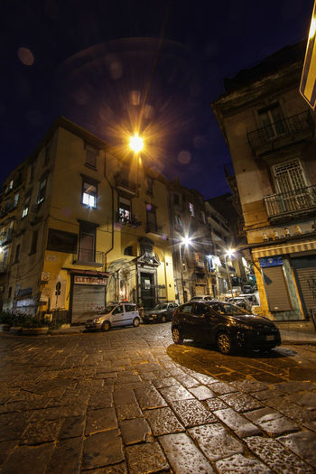 Lonely Street Naples Napoli Architecture Building Exterior Built Structure City Light Beam Night Night Mood Nightlife No People Outdoors Sky Street Street Light Street Scene