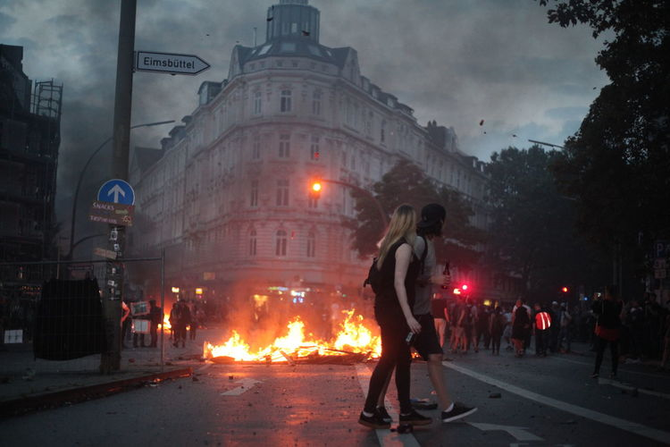 #Hamburg #firstpicture #protest People Watching Burning G20 Hamburg Germany Ontheroad First Eyeem Photo