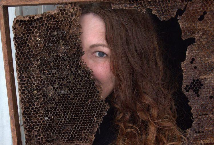 Woman Portrait Honeycomb Shyness Modesty  Hiding Looking At Camera Portrait Looking At Camera Human Face Beauty Beautiful People Close-up Textured Effect Hazel Eyes  Eye Color Iris - Eye Eyeball