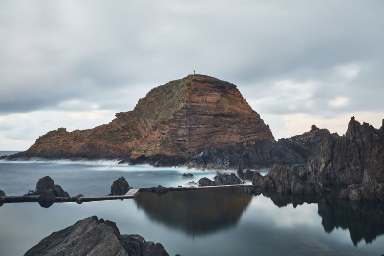 Panoramic view of rock formations in sea against sky
