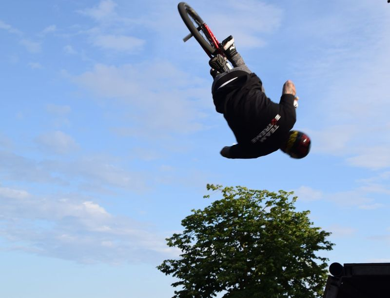 Humber Street Sesh 2016 Adventure Blue Cloud Cloud - Sky Cloudy Day Extreme Sports Freedom Fun Jumping Leisure Activity Lifestyles Low Angle View Mid-air Motion Outdoors RISK Skill  Sky Sport Hull 2017 Hull Hull City Of Culture 2017 Humber Street Sesh 2016 Bicycle