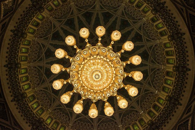 Directly below shot of chandelier