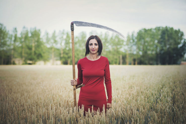 Agriculture Death Fashion Field Freedom Wheat Field Beautiful Woman Danger Forest Grass Leisure Activity Meadow Mysterious Mystery Nature Outdoors Portrait Scythe Strange Summer Tree Witch Young Women