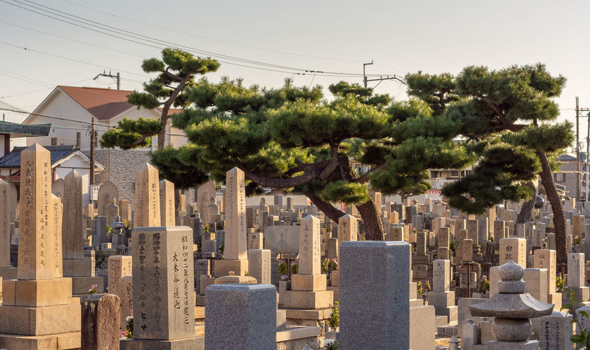 Panoramic view of cemetery and buildings against sky