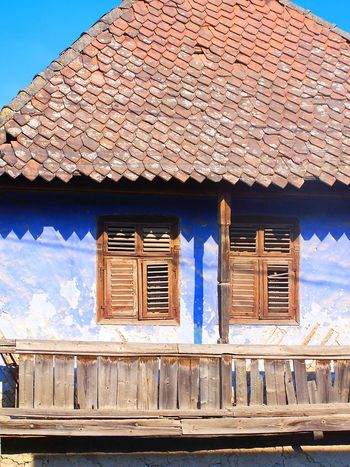 Old house with blue wall Old House Blue Wall Transilvania Tile Triangle Village