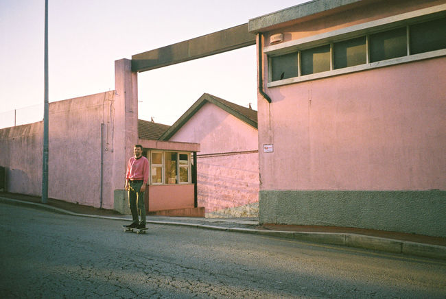 35mm Analogue Photography Architecture Color Palette Film Photography Filmisnotdead Pink Pink Building Pink Color Skateboarding