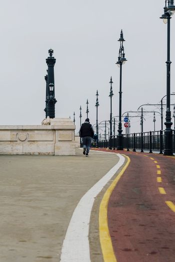 Budapest Bridge People Jogging Outdoors City Cold Day Wintertime Citylife City Landscape Healthy Lifestyle Sport Activities Cycling Path Cycling Track Runner