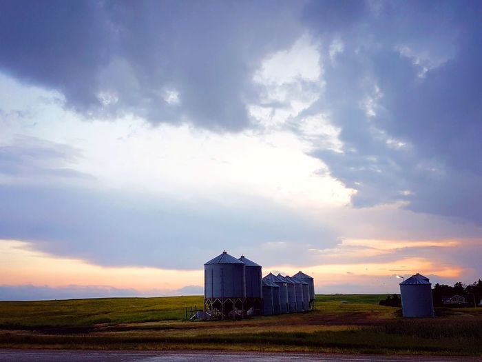 Right after it stormed 💕👐📸 .. Afterstorm  Photography Farmyard Grainbins Sky Porn Highway Sopretty Colors