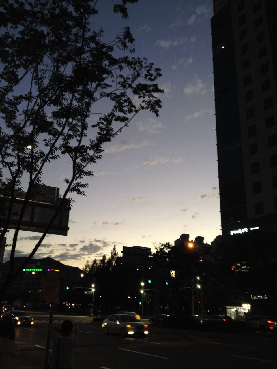 Illuminated City Street By Building Against Sky At Dusk