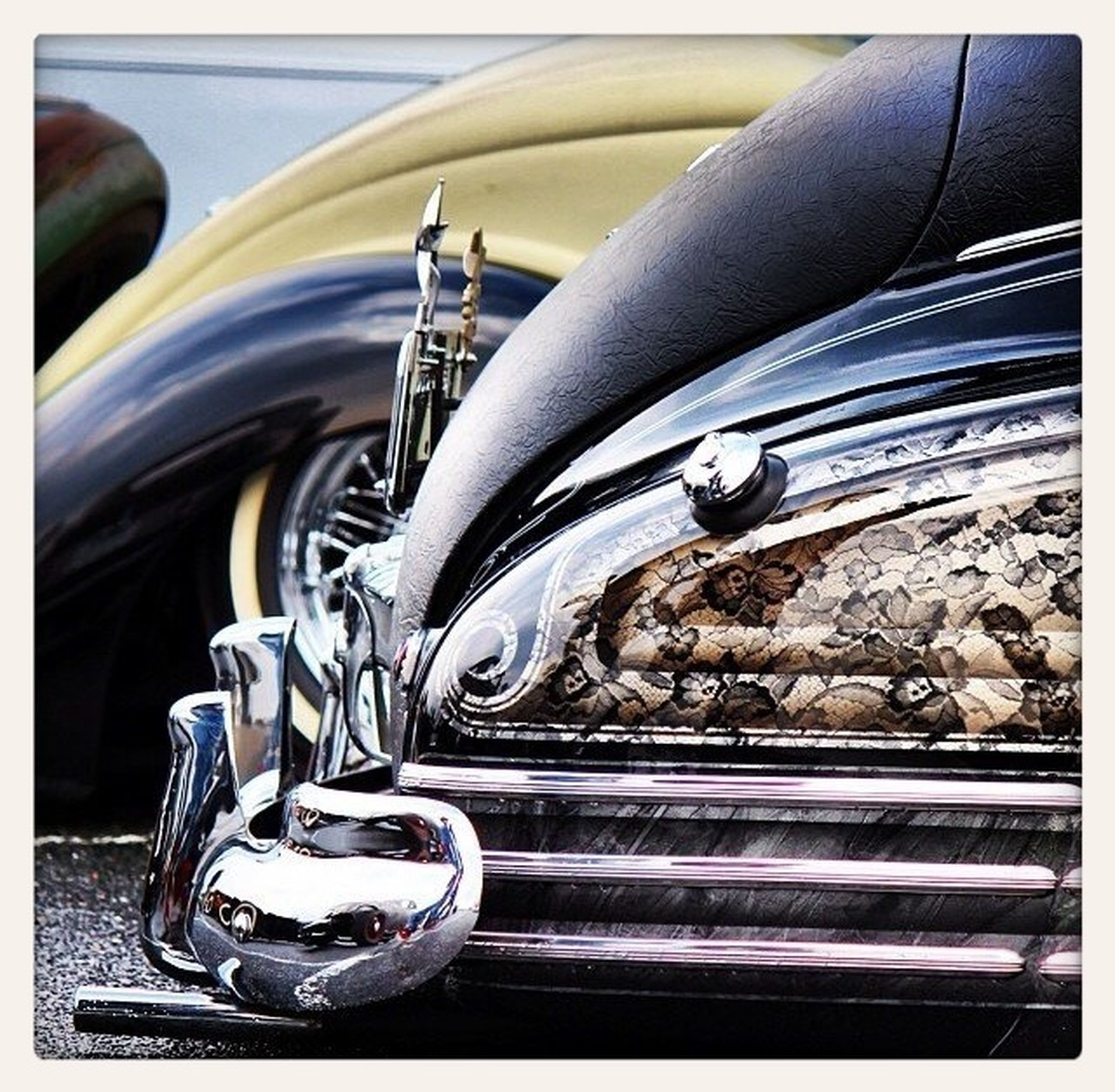 part of, indoors, close-up, transfer print, transportation, mode of transport, cropped, car, metal, land vehicle, auto post production filter, person, high angle view, focus on foreground, shiny, fork, one person, still life, music, reflection