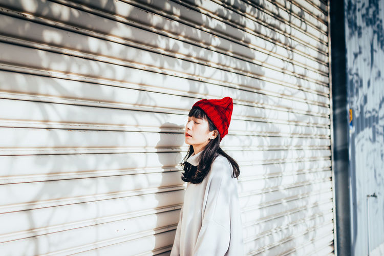 portrait Lifestyles One Person Young Women Real People Young Adult Clothing Day Standing Women Red Hat Looking Away Outdoors Beautiful Woman Hairstyle International Women's Day 2019
