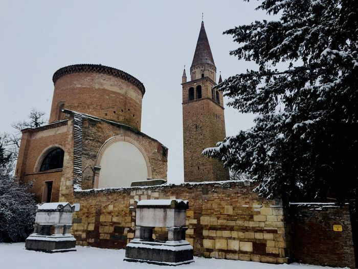 Abbazia Vangadizza in snow Snow Covered Building Exterior Architecture Built Structure Building Sky Tower Low Angle View Nature