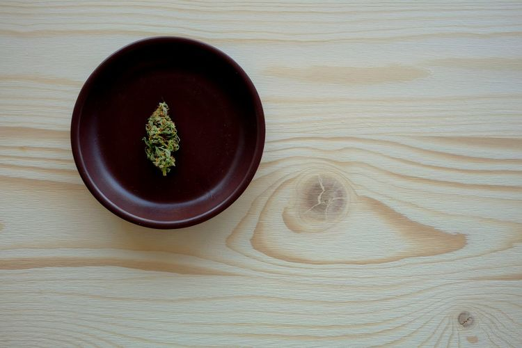 High angle view of tea in bowl on table