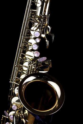 Music Instrument Alto Saxophone, Saxophone Isolated on black Musical Instrument Music Arts Culture And Entertainment Studio Shot Indoors  Saxophone Black Background Wind Instrument Musical Equipment Close-up Metal Brass Instrument  Shiny No People Still Life Gold Colored Jazz Music Single Object Brass Cut Out