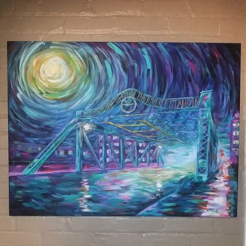 Riverside Bridge - 30x40 Acrylic on stretched canvas. Caseyoneillart Torontoartist Toronto