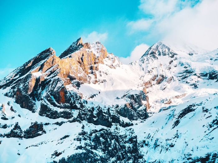 Swiss Alps! Oeschinensee Kandersteg Switzerland Swiss Swiss Alps Sky Cloud - Sky Beauty In Nature Nature No People Winter Scenics - Nature Tree Mountain Low Angle View Tranquil Scene Snow Cold Temperature Snowcapped Mountain Outdoors Non-urban Scene Day Blue Tranquility