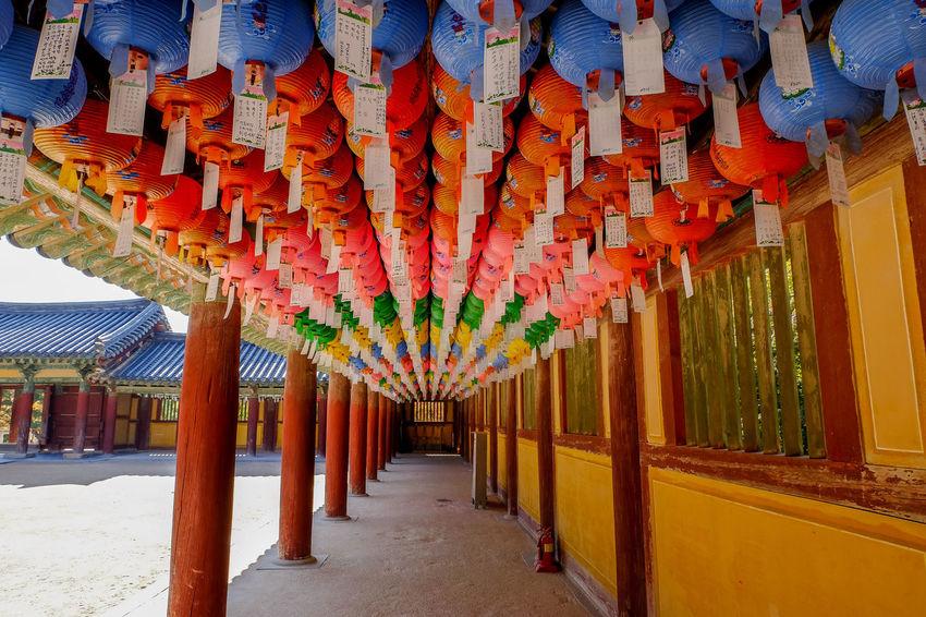 Hundred lanterns hanging at Bulguksa Temple ASIA Ancient Architecture Geongju HUNDRED Korea Lanterns Travel Architecture Budhist Bulguksa Colorful Destination Hanging Historic The Way Forward Unesco