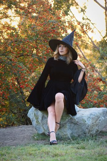 Happy Halloween mortals! VSCO Portrait Photography Portrait Witch Coven NikonD3400 Nikonphotography Nikon Sunset Hat Full Length Costume Clothing Autumn Front View Halloween Women Nature Plant