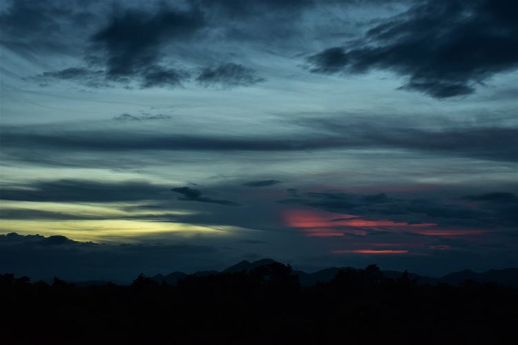 sunset in mountains Beauty In Nature Cloud - Sky Dark Dramatic Sky Dusk Environment Idyllic Landscape Nature No People Non-urban Scene Ominous Outdoors Overcast Scenics - Nature Silhouette Sky Storm Storm Cloud Sunset Sunset In Mountains Tranquil Scene Tranquility