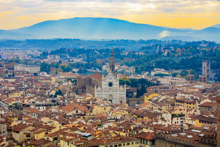 Cityscape of florence, tuscany, italy, during sunset in autumn.