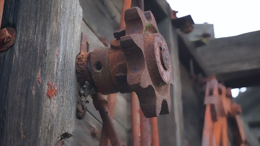 Metal Backgrounds Close-up Agricultural Machinery Old Farm Machinery Antique Rusty Weathered Old-fashioned Gears Equipment Antique Farm Machinery Wood - Material