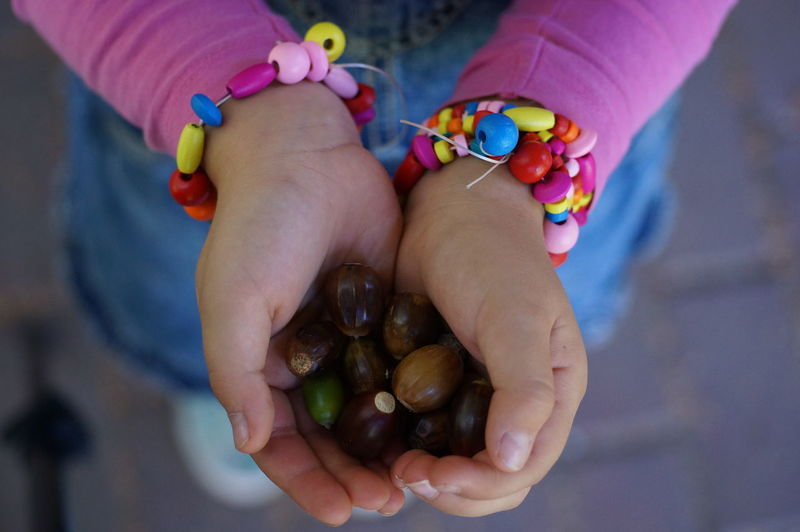 Midsection of child holding nuts
