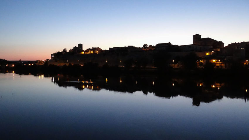 ezefer Reflection Water Architecture Building Exterior Sky Built Structure Illuminated City Waterfront Building No People Nature Sunset Dusk Lake Silhouette Clear Sky Tranquility Residential District Outdoors Cityscape Zamora Zamora, Spain