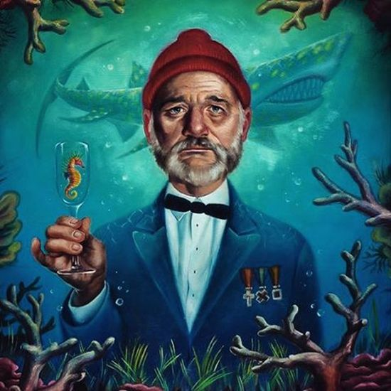 "The Life Aquatic with Steve Zissou. Painted by Allison Reimold ""Please don't make fun of me. I just wanted to flirt with you"" Wesanderson"