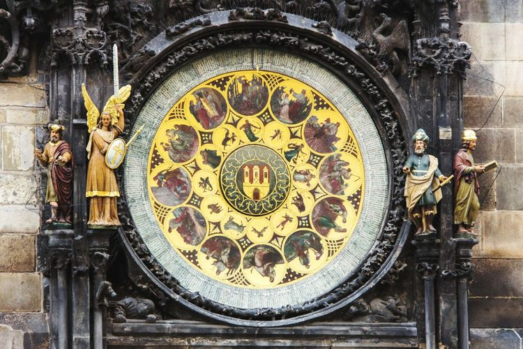 Close-up of artwork on astronomical clock