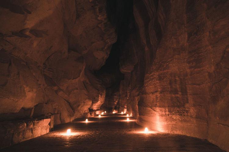 Petra's siq illuminated by candles