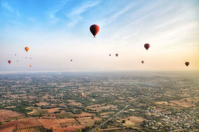 Balloons over Bagan Hot Air Balloon Mid-air Flying Sky Outdoors Aerial View Day Go Higher