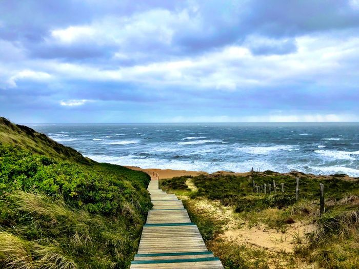 First Eyeem Photo Sea Ocean Northsea Sylt Wood Sylt Water Sky Sea Cloud - Sky Scenics - Nature Beauty In Nature Beach Land Tranquility Horizon Over Water Tranquil Scene Horizon Nature Day No People Plant Outdoors Idyllic Direction The Great Outdoors - 2018 EyeEm Awards