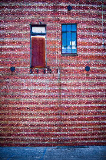 Architecture Backgrounds Brick Wall Built Structure Day Door No People No Stairs Old Buildings Patina Red Reflection Rustic Rusty Urban Urban Decay Urban Exploration Wall