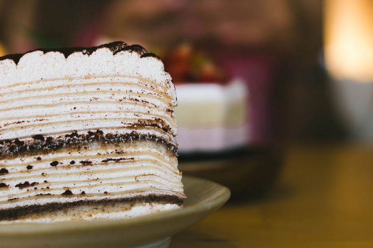 Close-up of cake on table