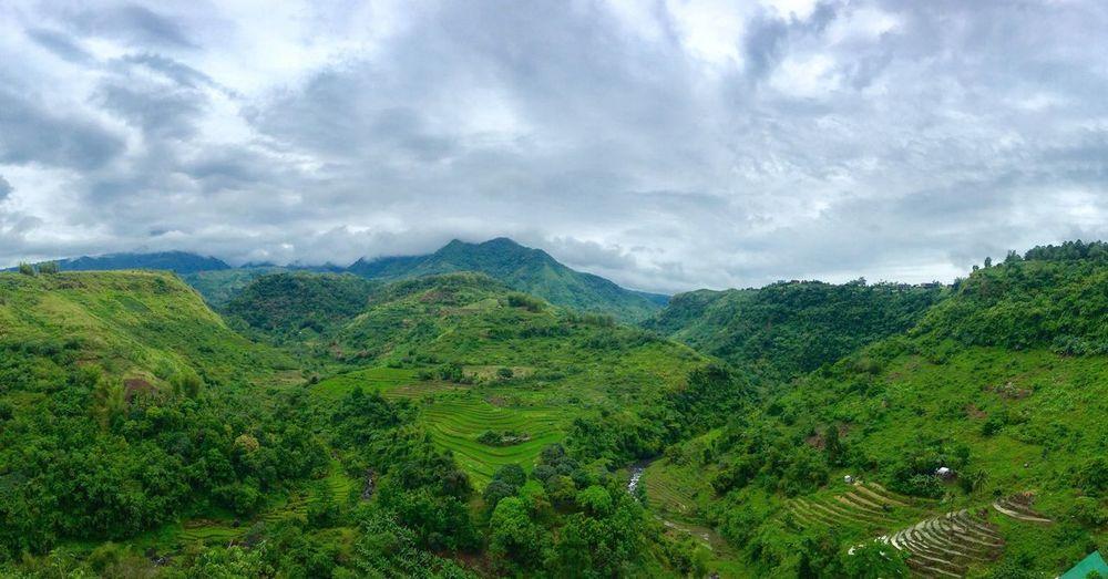 High angle view of rice field and mountains against sky