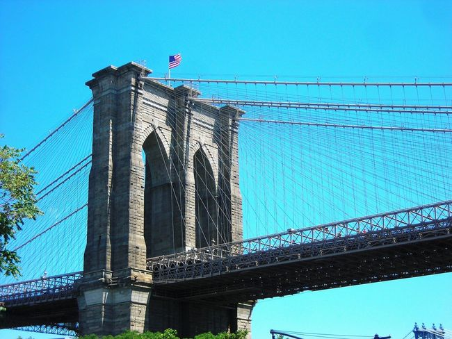 Architecture Brooklyn Bridge / New York Clear Sky Traveling 4th Of July Memories Minimalist Architecture