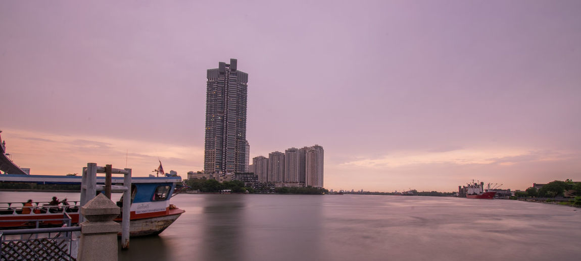 Modern buildings at waterfront